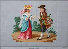 19th Century Wool Work Pattern, Victorian Cross Stitch pattern, Heinrich Kuehn hand painted 18th century couple