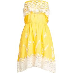 Christophe Sauvat Embroidered Cotton Dress ($199) ❤ liked on Polyvore featuring dresses, yellow, broderie dress, yellow cotton dress, lace overlay dress, elastic dress and cotton dresses