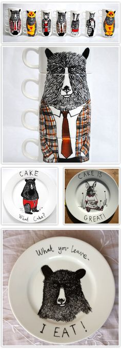 Jimbobart plate and mug designs - we love their sense of fun and witty humour; very stylish too!