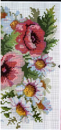 Cross stitch - flowers: poppies, daisies and wheat (chart - part D)