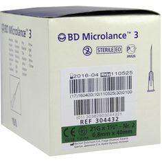 BD MICROLANCE Kanüle 21 G 1 1-2 0,8x40 mm:   Packungsinhalt: 100 St Kanüle PZN: 03086930 Hersteller: Becton Dickinson GmbH Preis: 2,82…