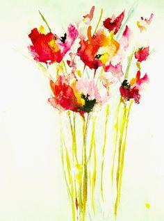 """Saatchi Online Artist Karin Johannesson; Painting, """"Pink Poppies"""""""