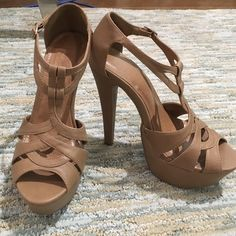 Tall strappy heels! 6 inch heels. Never worn before! Forever 21 Shoes Platforms