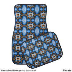 Blue and Gold Design Star Car Mat