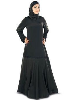 Black Faux Crepe Readymade Abaya with Hijab: QAM186