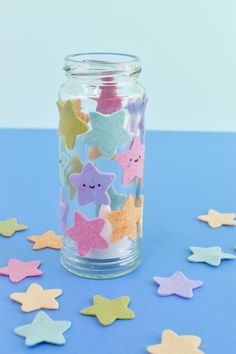 These sweet smiling stars are ready to add a flicker of light to your room! Valentine's Day Crafts For Kids, Valentine Crafts For Kids, Big Candles, Tea Light Candles, Cute Night Lights, Pastel Galaxy, Star Template, Jar Lights, Glue Crafts