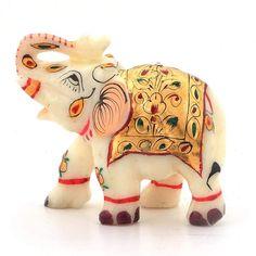 Little India Rajasthani Handmade Marble Handicraft Elephant White) Home Decor Items Online, Home Decor Online Shopping, Garden Animal Statues, Wall Clock Design, Elephant Figurines, Metal Crafts, Gold Paint, Handmade Decorations, Vintage Home Decor
