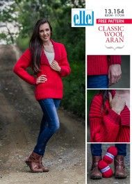 Classic Wool Aran makes this jersey perfect for those wintery days Knitting Patterns Free, Free Knitting, Free Pattern, Pullover, Wool, Clothes For Women, Yarns, Classic, How To Make