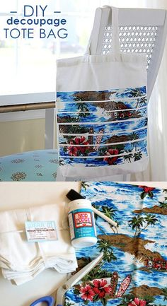 You can decoupage a bag with your favorite fabric! I made a fun DIY beach tote for my summertime pool trips using a retro surfer-inspired fabric I found.
