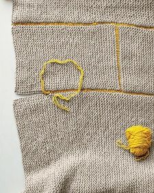 Knit Blanket - Martha Stewart Knit different size rectangles in garter stitch,  sew together with contrasting yarn, then single crochet around the perimeter. Beautiful!