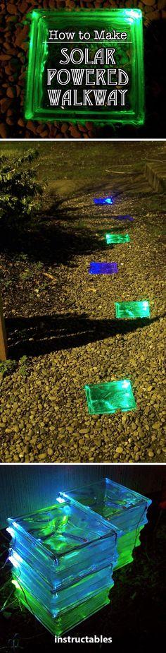 How to Make a Solar Powered Walkway #solar #glasstile #garden #walkway #nightlight #diygardenprojectsyardart