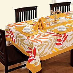 Foliage Printed Rectangular Table Linen-5904