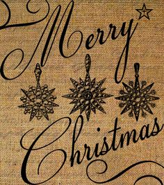 Fabric Transfer Digital Collage Sheet Merry Christmas Ornaments Stars Winter Digital Download Iron On Burlap Pillow Tote Tea Towel 2992
