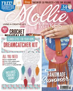 Mollie Makes issue 54 includes a free crochet dreamcatcher craft kit and 8 pull-out papers. Also inside this issue: • Boho festival bag • Knitted cactus cushion • Hot dog crochet eye mask • Unicorn hobby horse • Upcycled skirt • 3 ways with kaleidoscopes •