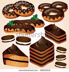 Set of chocolate sweets and cakes. Vector illustration - stock vector