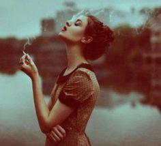 beautiful, cigarette, smoke, woman