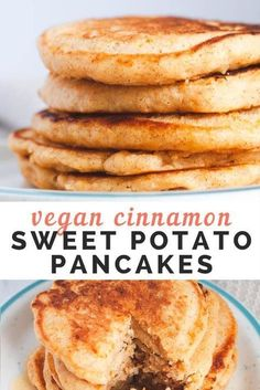 Vegan sweet potato pancakes that are fluffy and easy to make. Perfect for a fall breakfast topped with toasted pecans or walnuts. Waffle Recipes, Gf Recipes, Cooking Recipes, Healthy Recipes, Healthy Food, Fall Breakfast, Breakfast Recipes, Sweet Potato Pancakes Vegan, Appetizer Recipes