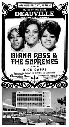 1969 newspaper ad for Diana Ross & The Supremes at Miami's Deauville Hotel.