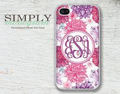 iphone 4 case - iphone 4s case - plastic or silicone rubber - floral monogram