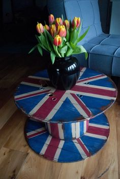 old cable spool turned into a Union Jack side table