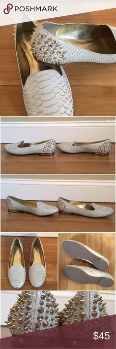 """Arturo Chiang Bonni Embossed Leather Flats Off white leather upper with gold metallic snakeskin embossing. Spikes and rhinestones on back heel in gold. Rubber bottom. Worn a few times and in great condition. Some scratches and black spots on shoes. Shows some wear. 1/2"""" heel. No box. Arturo Chiang Shoes Flats & Loafers"""