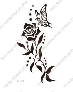 Fashion 5 Pcs Butterfly Rose Waterproof Temporary Tattoo Sticker on BuyTrends.com, only price $6.00