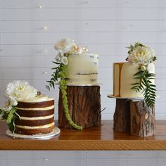 Trio of Cakes - Rustic - Naked - Semi-nude - Full Buttercream - Fresh Flowers - Classic, simple, elegant - Melbourne Made - Miss Ladybird