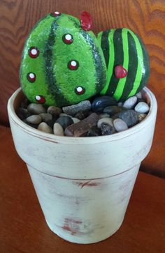 Handpainted Rock Art - CACTUS Rocks with Handpainted 5 inch Terracotta Pot by CrawfordBunch on Etsy