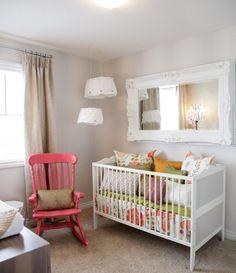White pink baby girl nursery