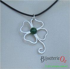 Shamrock 4 Leaf Clover Pendant Necklace with от BijouterieOz