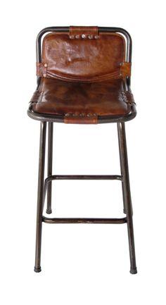 Leather U0026 Iron Stool