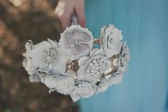 Leather Flower and brooch bouquet. Part of my new bridal bouquet collection