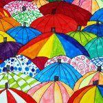 Arte na escola primária: guarda-chuvas - Basteln mit kindern - Middle School Art, Art School, Tableau Design, 6th Grade Art, Inspiration Art, Umbrella Art, Ecole Art, Art Lessons Elementary, Elementary Education
