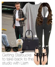 """""""Getting Starbucks to take back to the studio with Liam"""" by style-with-one-direction ❤ liked on Polyvore featuring Payne, Topshop, Yves Saint Laurent, Zara, Ray-Ban, OneDirection, LiamPayne, 1d and lucluc"""