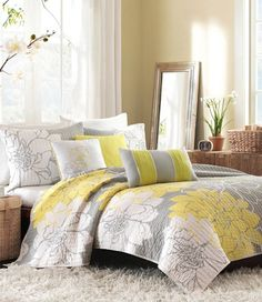 pretty grey and yellow spring bedding