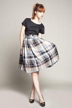 Boat neck dress with tartan skirt XXS-1X por mrspomeranz en Etsy