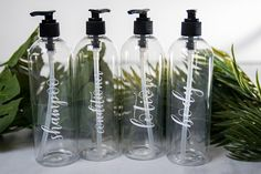 Items similar to Clear Shampoo Bottles and Labels, Custom Shampoo Bottle, Modern Bathroom Accessories, Plastic Bottle For Shampoo, Reusable Containers on Etsy Modern Bathroom Accessories, Modern Bathroom Decor, Bathroom Ideas, Bathroom Containers, Wine Mom, Shampoo Bottles, Mirror Makeover, Farmhouse Kitchen Decor