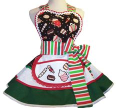 Apron Women Holiday Christmas Hot Cocoa Red and by WellLaDiDa, $55.00