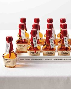 The couple thanked guests with mini bottles of Maker's Mark, which is distilled 55 miles south of Louisville in Loretta, Kentucky.