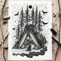 Art Drawings Sketches Simple, Pencil Art Drawings, Amazing Drawings, Art Et Illustration, Ink Illustrations, Mandala Art, Stylo Art, Art Du Croquis, Pen Art