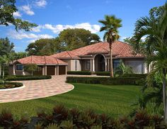 Five or Six Bedroom Florida Home - 32223AA   European, Florida, Mediterranean, Spanish, Luxury, 1st Floor Master Suite, CAD Available, Den-Office-Library-Study, Jack & Jill Bath, MBR Sitting Area, PDF, Split Bedrooms, Corner Lot   Architectural Designs