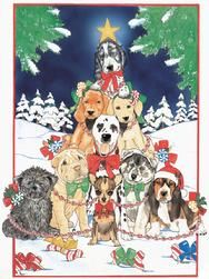 Tree of Christmas dogs whimsical