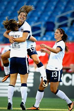 Soccer - USWNT celebrating Lauren Cheney's goal! Tobin Heath & Alex Morgan