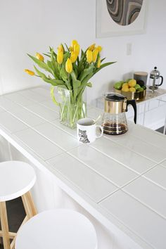 white tile kitchen countertops. Brilliant White Tiled Countertop DIY Click Through For Tutorial Intended White Tile Kitchen Countertops