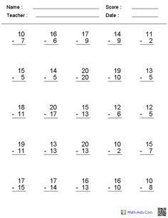 No Regrouping Horizontal Format Subtraction Worksheets  Projects