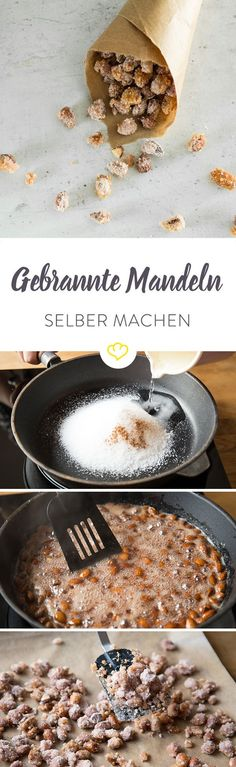Gebrannte Mandeln wie von der Kirmes oder dem Weihnachtsmarkt kannst du einfach selber machen. Und zwar mit Pfanne, Backofen und Mikrowelle. Konfekt, Love Food, Christmas Baking, Desserts Sucrés, Dessert Recipes, Almonds, Cake & Co, Sweet Recipes, Food Design