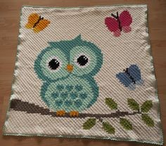 Crochet Owl Baby Blanket. Done witch C2C-Crochet :)