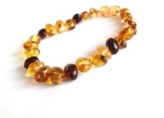 Elegant Baltic Amber Bracelet. Multicolor amber beads. $15.99 USD
