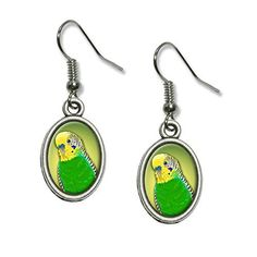 Green parakeet fun casual dangly earrings for those who love parakeets / budgies.