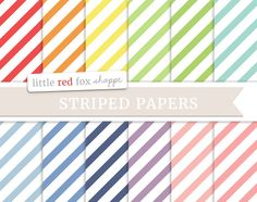 Diagonal Striped Digital Papers Rainbow Scrapbooking Backgrounds Wallpapers Vintage Decorative Crafting Graphic Design Small Commercial Use LittleRedFoxShoppe 3.00 USD